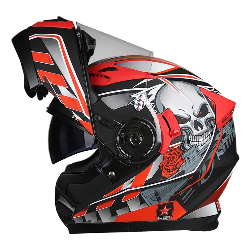 Bluetooth Helmet Motorcycle Wireless Helmets Flip Up with Bluetooth Helmet Full Face Dual Visors Modular Helmet in Helmets from Sports Entertainment