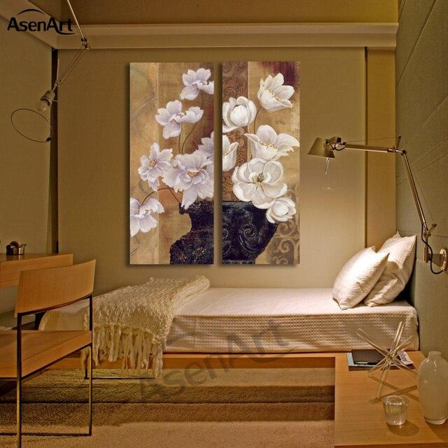 Pas Cher 2 Panneau Vintage Blanc Fleur Photo Vase Peinture