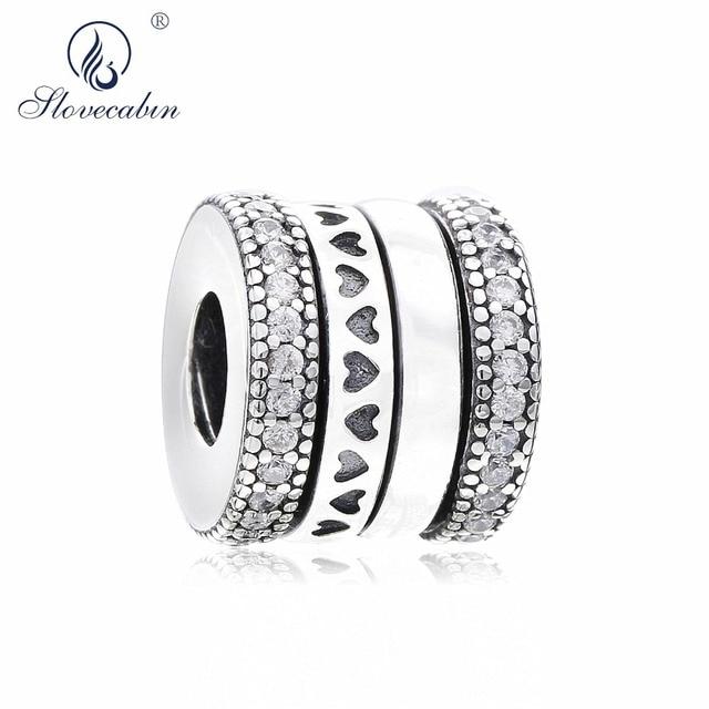 6dc9eba425bc Slovecabin 100% Otoño de 2018 vueltas corazones de encanto CZ claro 925  cuentas de plata esterlina de la joyería de las mujeres de la pulsera