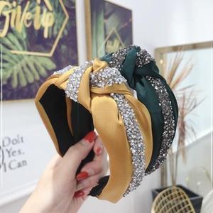 New Fashion Rhinestone Hairband Women Solid Wide Side Headband Middle Knot Turban Girls Autumn Winter Hair Accessories Headwear(China)