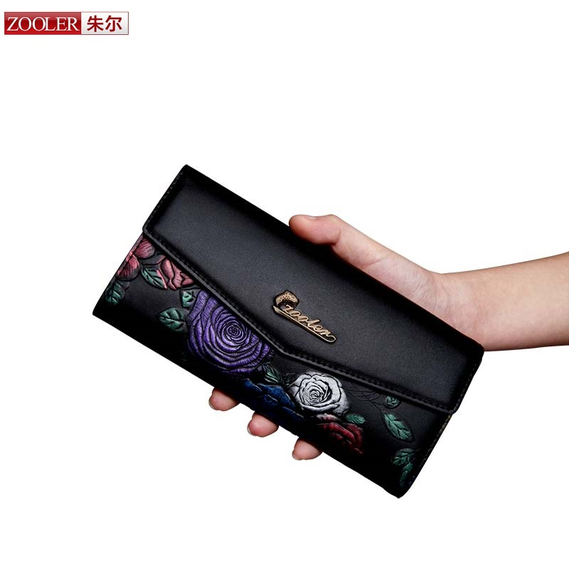ZOOLER 2017 hot women leather wallets genuine leather wallet purses stylish lady cowhide card holder embossed handbag luxury2952 lole капри lsw1349 lively capris xs blue corn