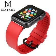 MAIKES Roes Red Assista Acessórios Relógio Maçã Bandas 44mm 40mm Esportes Relógio Assistir Cinta de Borracha Macia Para Apple banda 42mm 38mm