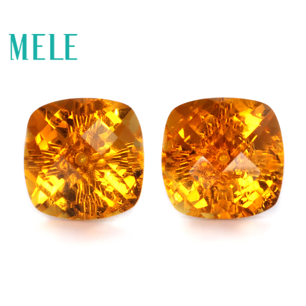 Natural yellow citrine 18k gold earrings studs for women 8mm square cut gemstone fashion and trendy