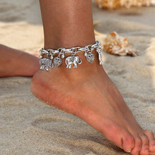 Vintage Gold Silver Anklets for Women Elephant Pendant Charms Box Chain Beach Summer Foot Ankle Bracelet Wholesale Jewelry(China)