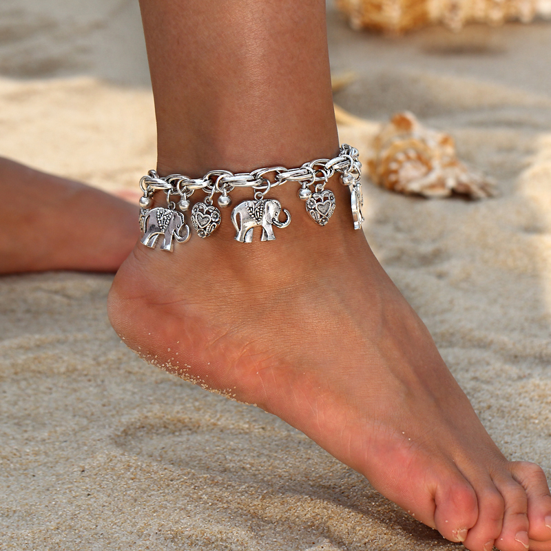 Vintage Gold Silver Color Anklets for Women Elephant Pendant Charms Box Chain Beach Summer Foot Ankle Bracelet Wholesale Jewelry