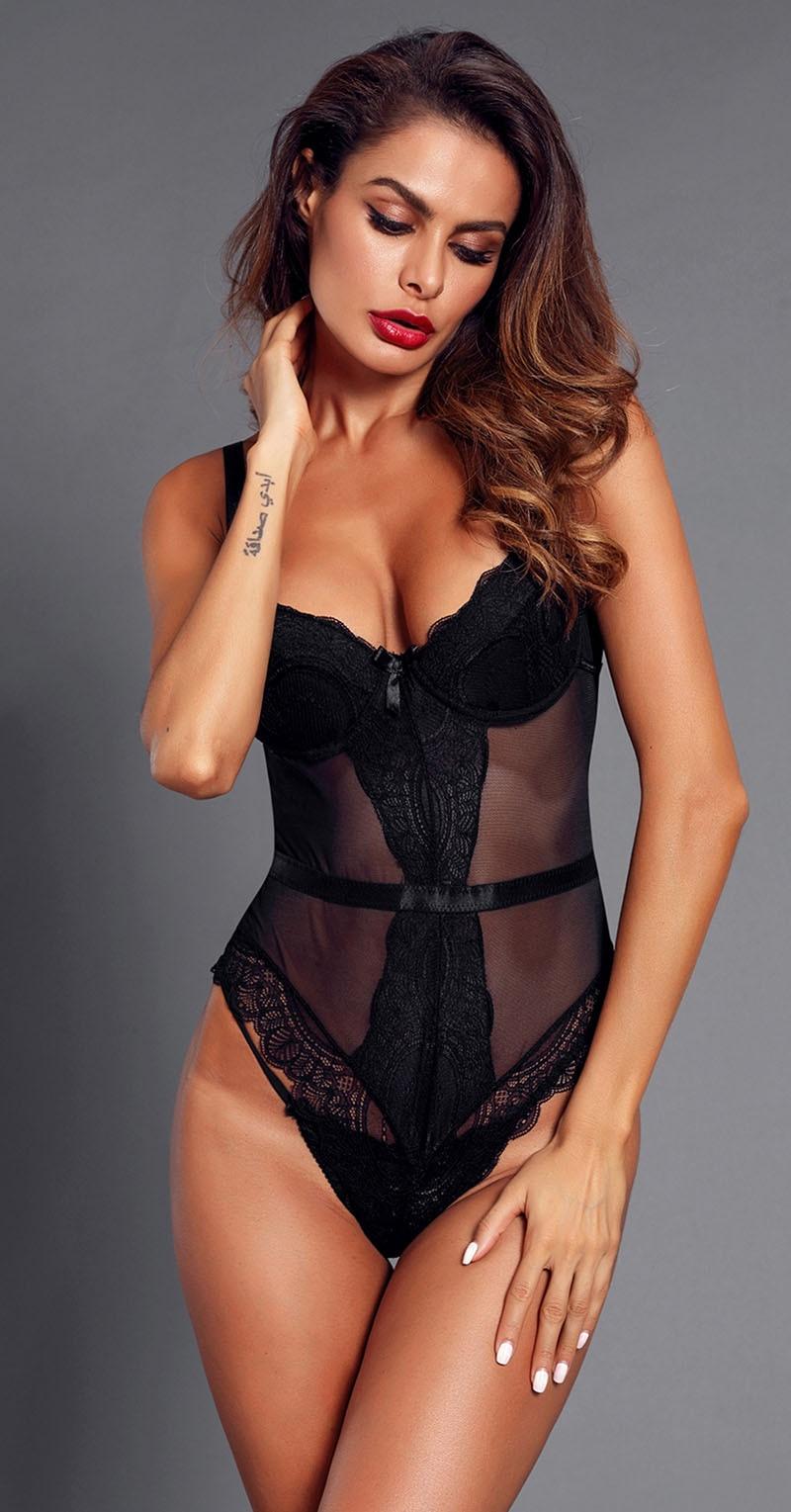 Black-Sheer-Lace-Spaghetti-Strap-Bodysuit-LC32259-2-3