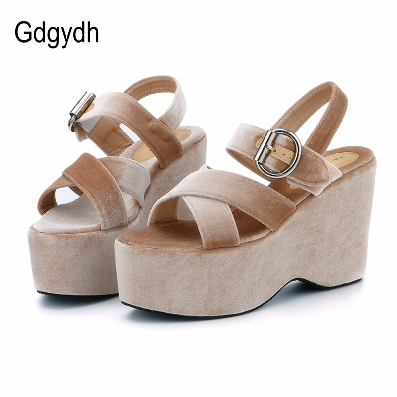 Gdgydh 2018 New Flock Summer Women Shoes Open Toe High Platform Wedges Women Sandals Comfortable Ladies Shoes Drop Shipping new 2017 spring summer women shoes pointed toe high quality brand fashion womens flats ladies plus size 41 sweet flock t179