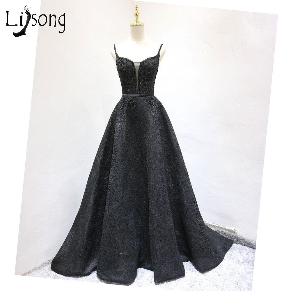 Chic Black Evening Dress Long Womens Elegant Lace A-line Formal ...