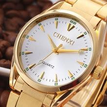 Relojes 2016 D'origine CHENXI Marque Hommes de Quartz Montre De Luxe De Mode Cadran OR Robe Montre Qualité en acier Affaires Bracelets
