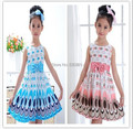 New 2017 Girl dress, Princess Bow Belt dress Circle Bubble Peacock print kids clothes, girl's Party dresses 2-9Y free shipping