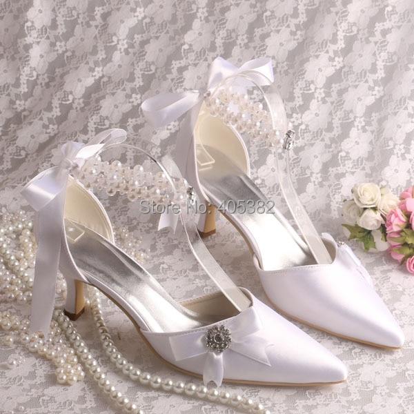 ФОТО Ivory White Pointy Toe Pearls Rhinestone Stiletto Heel Satin Pumps Ladies' Wedding Evening Party Shoes