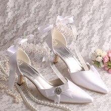 Blanco marfil Pointy Toe perlas Rhinestone del talón de estilete del satén bombas Ladies ' boda del partido de tarde
