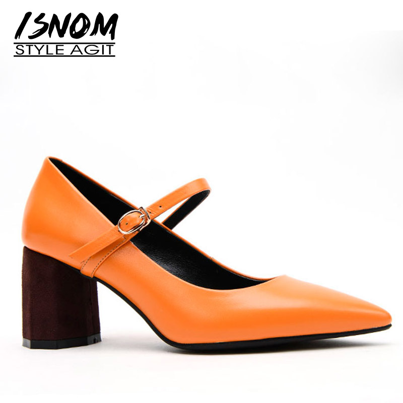 ISNOM Mary Jane Pumps Women Pointed Toe Footwear Party Unusual Heel High Shoes Female Cow Leather
