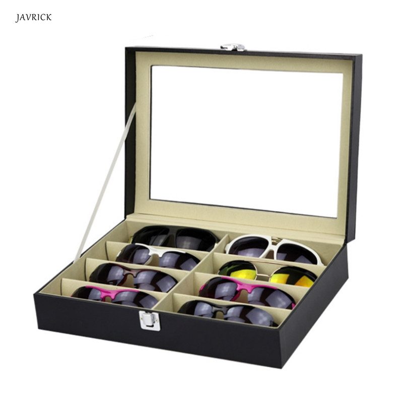 8 Slots Display Stand Eyeglasses Sunglasses Faux Leather Storage Organizer Display Case Box Free Shipping