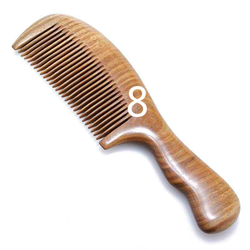 TI35 Natural Green Sandalwood Combs Jade Sandalwood Queen Long Hair Massage Brush Antistatic