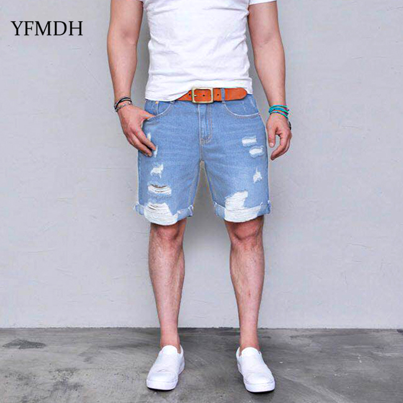 2019 Summer Fashion Casual Mens Ripped Short   Jeans   Denim Shorts Hole   Jean   Pant Shorts Men Male Breathable Denim Pant Clothing