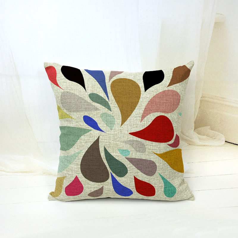 Abstract Drop Water Geometry Pillowcase Cushion Cover Cotton Throw Pillow Case For Car Seat Sofa Home Decor F