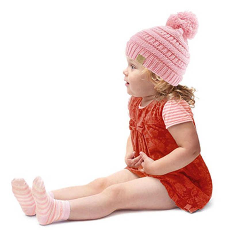 b433809e46bd03 ... New Kids Beanie hat Pom pom Hats Warm Girls Boys Knit Winter Hat  Children Cotton Knit ...