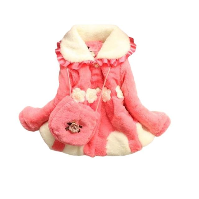 2016 Wnter New Girls Coat Fake Fur Vetement Enfant Fille Coral Cashmere Downy Children's Coat Jacket Thicker Cotton Clothing