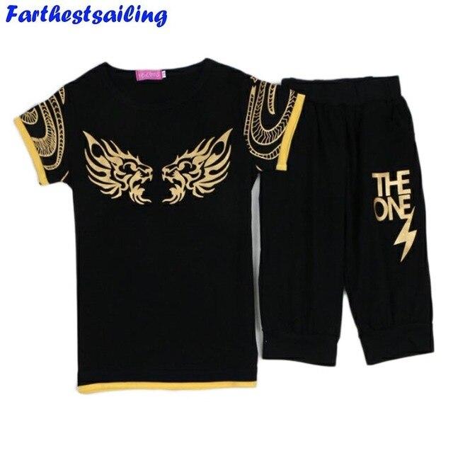 Детская футболка + шорты спортивный костюм комплект одежды для мальчиков Спортивная одежда для тренировочный костюм для мальчиков Детский спортивный костюм в Спортивный костюм для мальчика