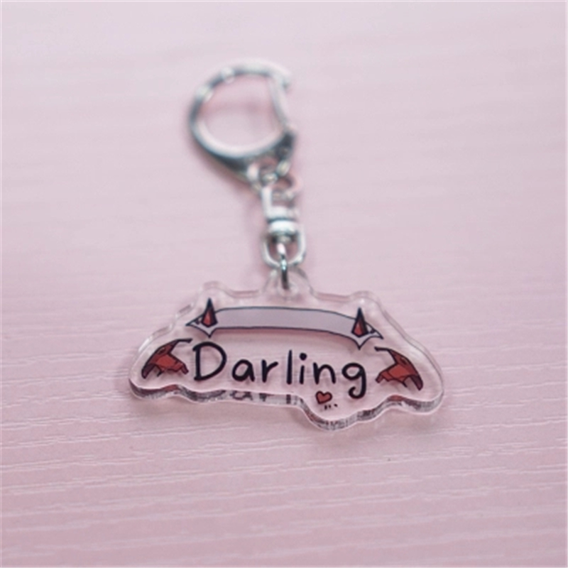 New Anime DARLING in the FRANXX Zero Two Cosplay Props Acrylic Cute Small Demon Keychain Car Home Key Pendant key ring