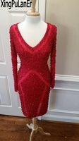 XingPuLanEr Straight Deep V Neck Long Sleeves Full Beaded Sequins Red Lace Short Above Knee Length Evening Gowns Prom Dresses