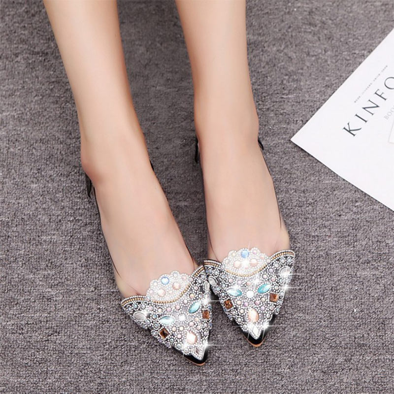 Summer Women Ballet Flat Shoes Color Rhinestone Pointy Ballerina Soft Sole Slip On Casual Shoes Crystal Wedding Shoes Ladies