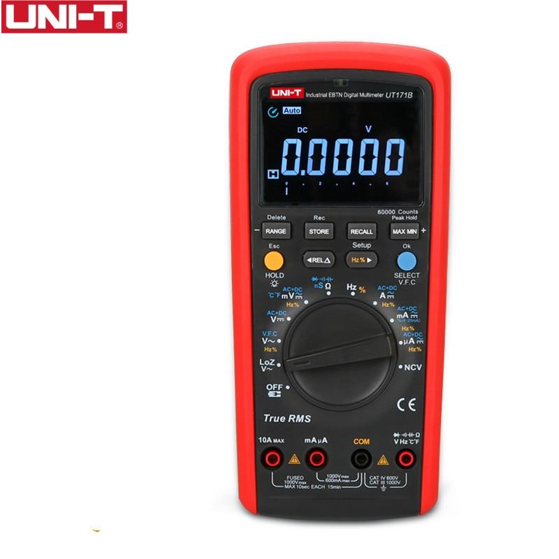 UNI-T UT171B Przemysłowe cyfrowe mierniki True RMS Dopuszczalność 60K Tester rezystancji zlicza Oryginalny pomiar EBTN LCD USbbB