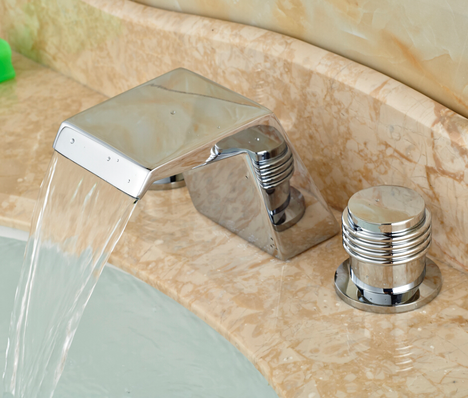 ФОТО Chrome Waterfall Bathroom Basin Faucet Widespread Sink Mixer Tap Two Handles