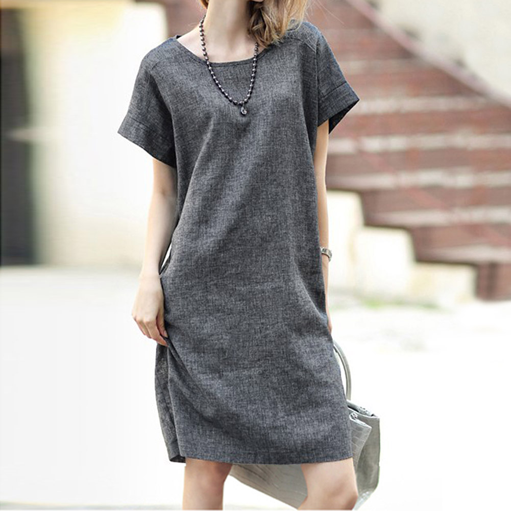 European Style Flax Dress Casual Comfort Loose Dress Plus Size Dress  FS99