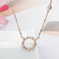 1Pc New Sterling Silver Circle Of The Sea Pendant And Chain Necklaces Korean Style Female Jewelry
