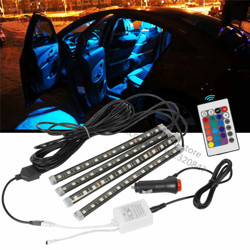 OKEEN Car-styling Led Wireless Remote Control Car 12V RGB LED Neon Interior Light Lamp Strip For Mazda/ TOYOTA/bmw e46 /Audi.... 2 4g wireless control 360 rgb color neon glow interior underdash foot floor seat accent ambient light for volvo s40 s40l