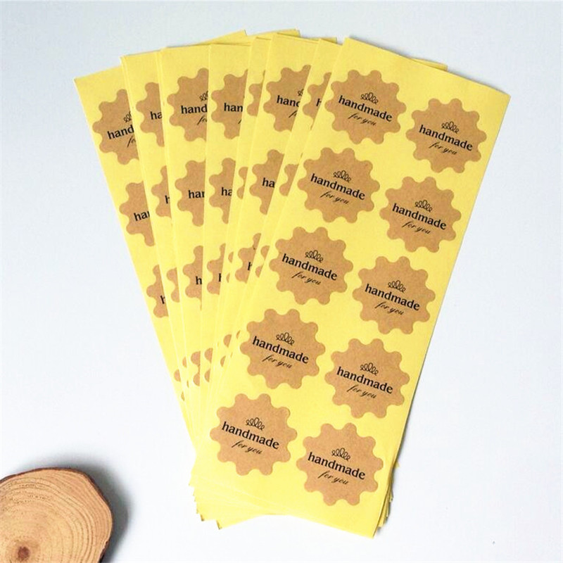 120PCS/lot  Flower Round design Handmade for you series Kraft paper seal sticker/Christmas DIY note gift  Labels/retail