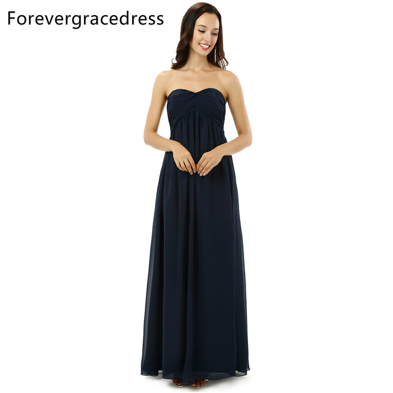 US $89.05 35% OFF Forevergracedress Real Photos Navy Blue Bridesmaid Dress  Simple A Line Sweetheart Chiffon Long Wedding Party Gown Plus Size-in ...