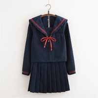 Autumn Japanese Jk Sets School Uniform Navy Girls Autumn Korea High School Girl Cosplay Novelty Sailor Suits Uniforms Send Socks