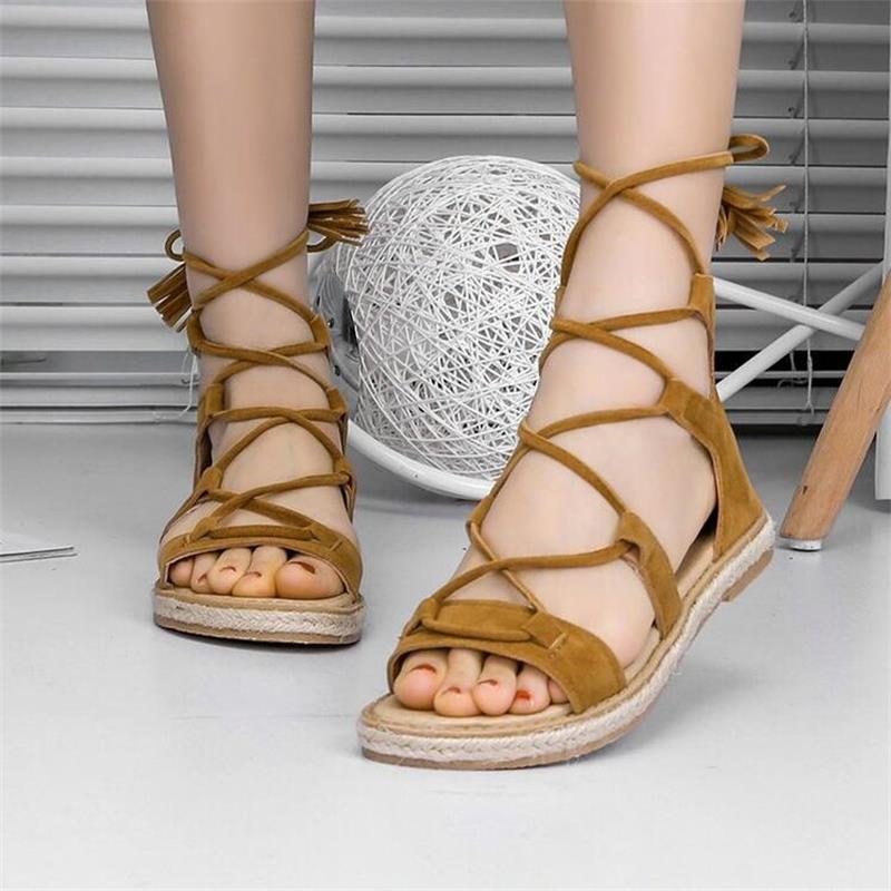 LISM 2018 summer new sandals female temperament flat wild fish mouth shoes cross belt Roman