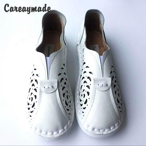 Careaymade 2019 الصيف ، جلد طبيعي الشقق أحذية ، نقية اليدوية الحوامل النساء أحذية ، سوبر لينة مريحة حذاء أبيض ، 5 اللون-في أحذية نسائية مسطحة من أحذية على  مجموعة 1
