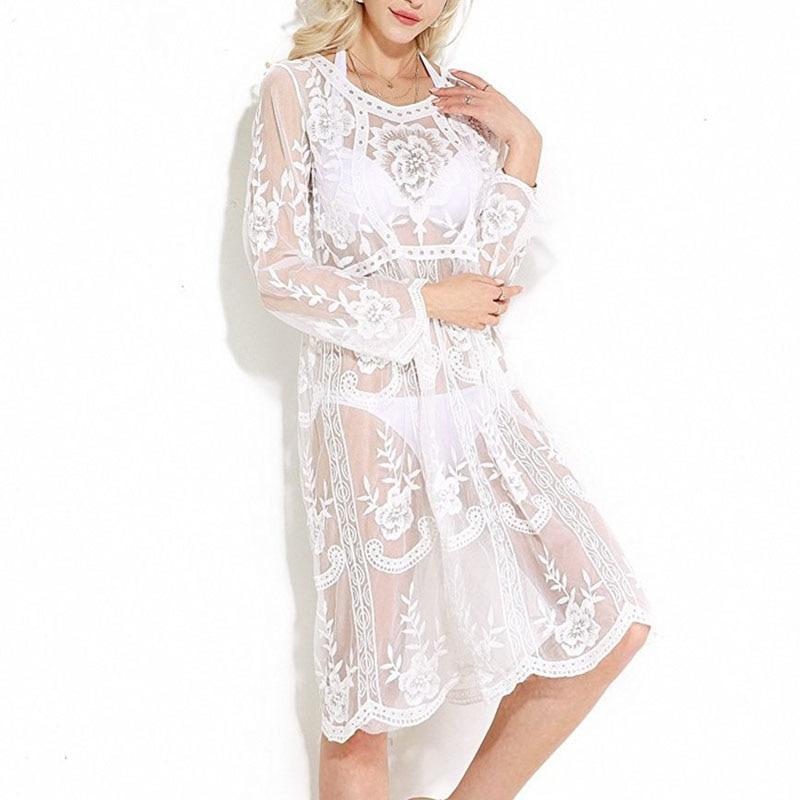 8a35584f00c4 Long Sleeve Women Summer Dress 2018 Flower White Lace Beach Dress  Embroidery See Through Frock Jurken Grote Maten Robe Ete Femme