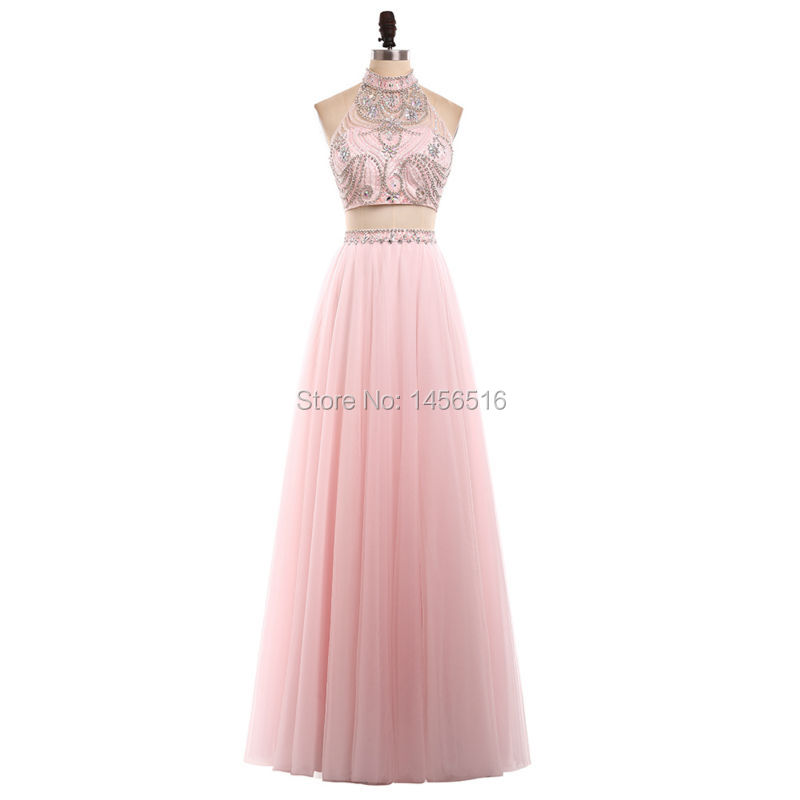 a43dc6bedb 2018 High Neck Tulle A line Women Pageant dresses formal evening ...