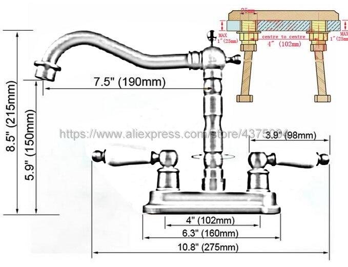 Laiton Antique Bathoom robinet de cuisine bec pivotant double poignées lavabo mélangeur robinets pont monté Nan065 - 3