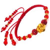 Чистое золото 3D Жесткий Золотой Розовый Красный Кристалл трансферный бисер цепочка на руку дорога пройти красный канат золотой браслет жен