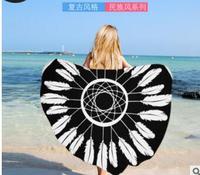 geometric Microfiber round beach towel European style mandala printed yoga seat mat