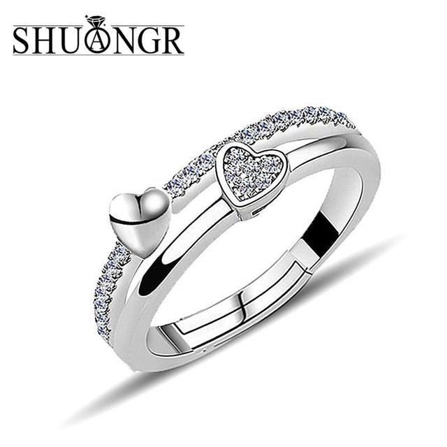 SHUANGR Top Quality Silver Concise Vintag CZ Double Heart Crystal Wedding Ring R