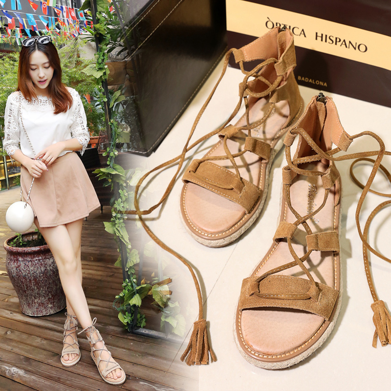 Sandals female summer flat simple 2018 new flat student Harajuku wild leather casual shoes large size 37