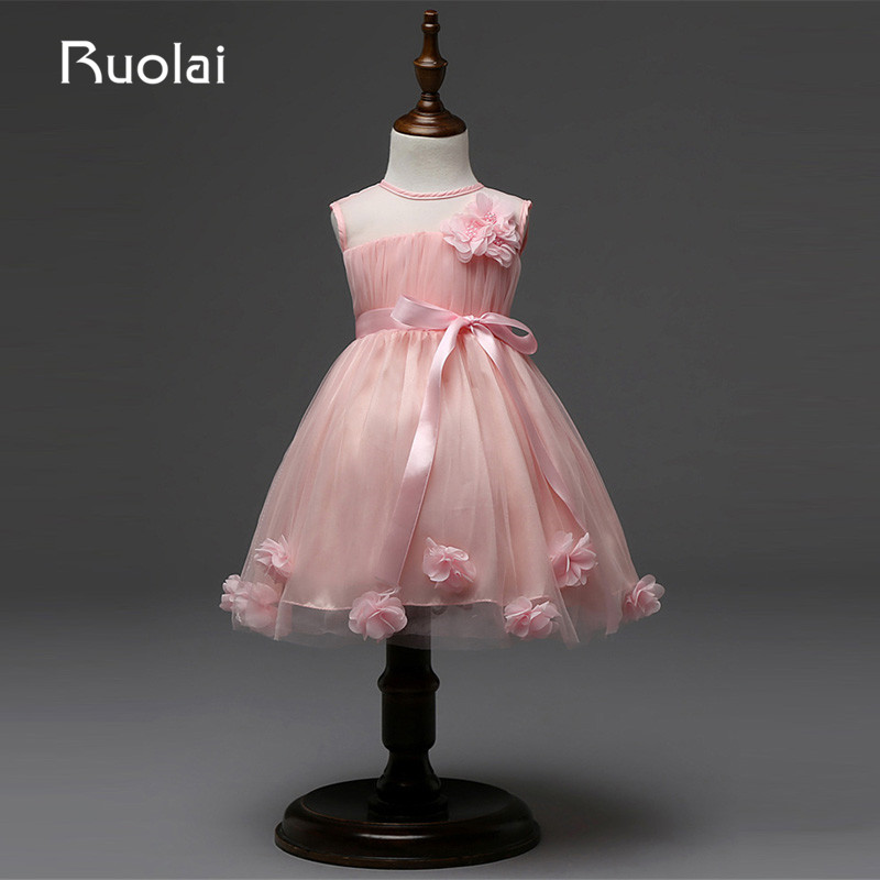 Real Picture Tulle Pink Sash Scoop Knee Length Flower Pearls Flower Girl Dresses for Wedding Party Birthday Party Gown AFG31