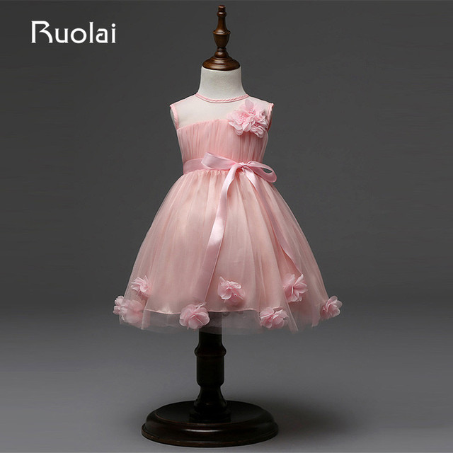 0e3c0d3e038fa Real Picture Tulle Pink Sash Scoop Knee Length Flower Pearls Flower Girl  Dresses for Wedding Party