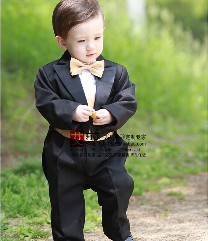 New Toddler Baby Boys Baptism Christening Gownblack Tuxedo Formal Birthday Party Wedding Dress For 1