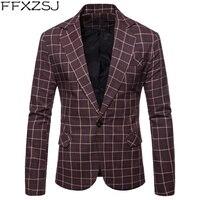 FFXZSJ Brand Blazers Mens Chest 104 120cm Suits Men Plaid Spring Lattice Men Blazers Slim Cotton Autumn Gray Suits Male SizeM 3X