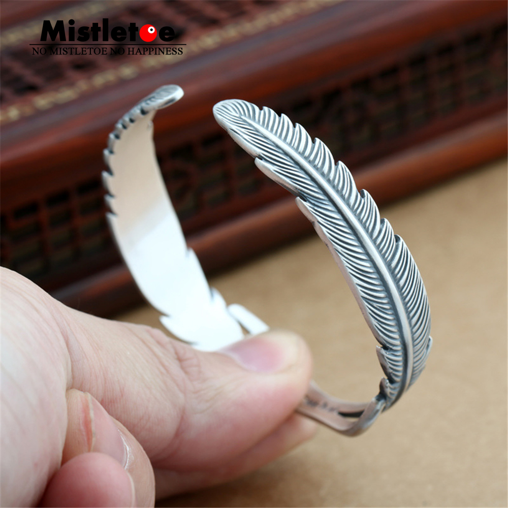 Authentic 999 Sterling Silver Vintage Indian Eagle Feather Open Adjustable Bangle Bracelet Jewelry For Women vintage alloy eagle shape bracelet for men