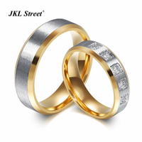 Lover Ring Sets 2PCS Sets Wire Drawing 316l Stainless Steel Rings Crystal Wedding Engagement Rings SFC050